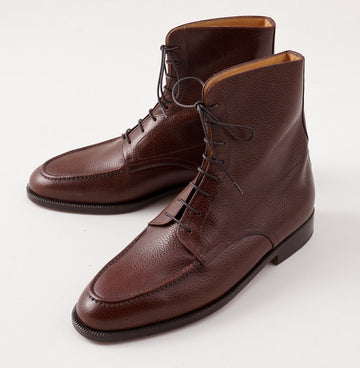 Silvano Lattanzi Laced Ankle Boots in Grained Brown