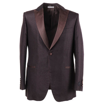 Belvest Patterned Silk Tuxedo with Peak Lapels