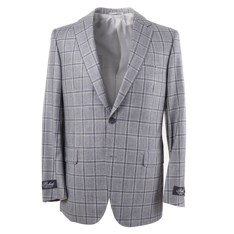 Belvest Gray Check Super 160s Wool Suit