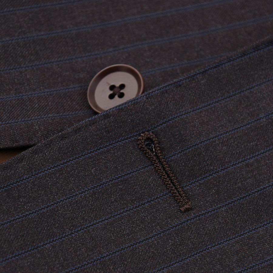 Isaia Brown and Sky Blue Stripe Wool Suit