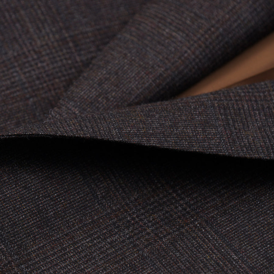Isaia Brown Subtle Check Wool Suit