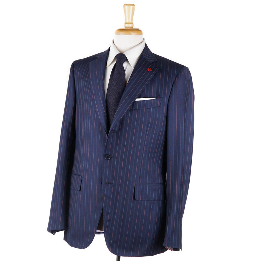 Isaia Blue-Pink Stripe 140s Wool Suit