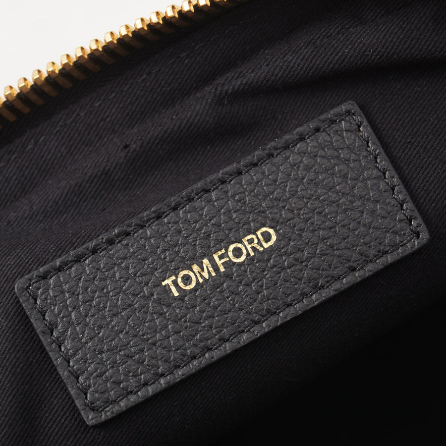Tom Ford Black Leather Single Zip Toiletry Case