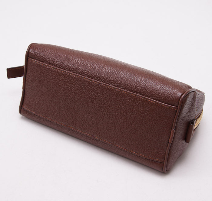 Tom Ford Brown Leather Single Zip Toiletry Case