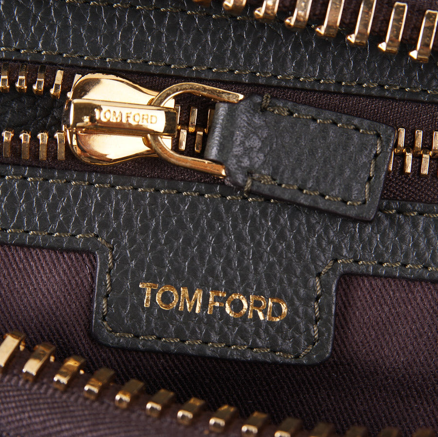 Tom Ford 'Buckley' Green Leather Duffle Bag - Top Shelf Apparel