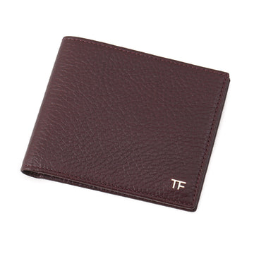 Tom Ford Burgundy Leather Wallet with Gold Emblem