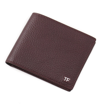 Tom Ford Burgundy Leather Wallet with Silver Emblem