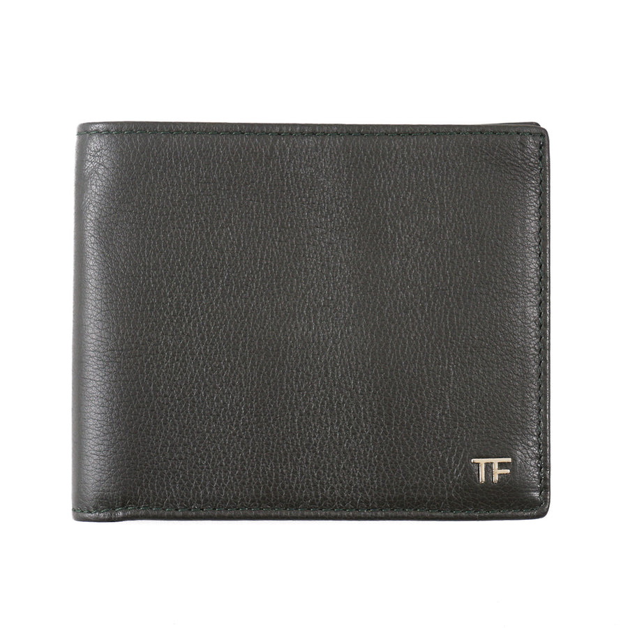 Tom Ford Dark Green Leather Wallet with Gold Emblem