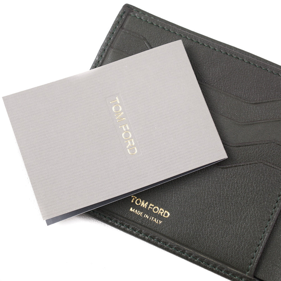 Tom Ford Dark Green Leather Wallet with Silver Emblem