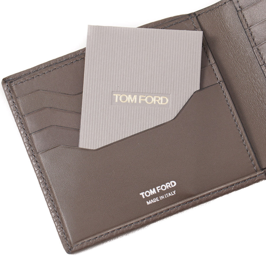 Tom Ford Gray-Brown Leather Wallet with Silver Emblem