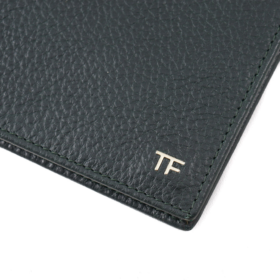 Tom Ford Green Leather Wallet with Gold Emblem