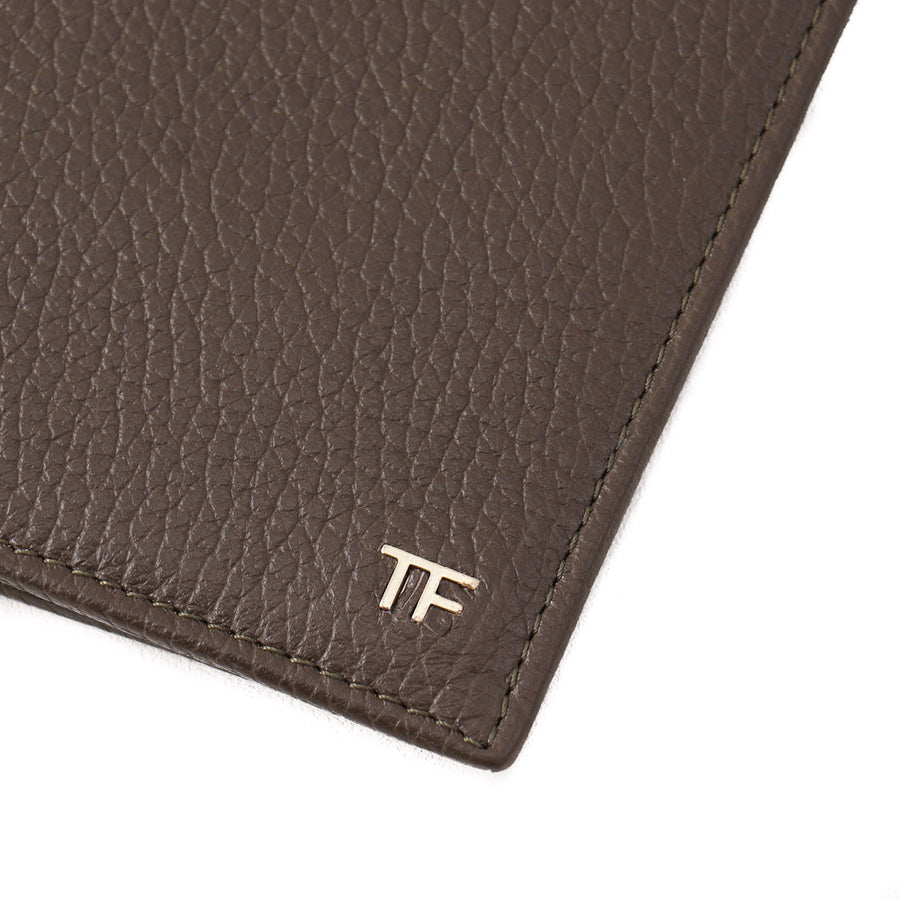 Tom Ford Olive Leather Wallet with Gold Emblem