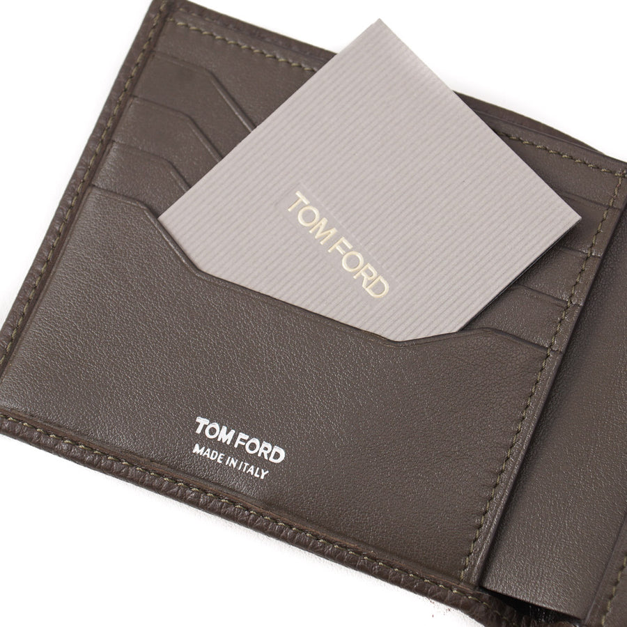 New $390 TOM FORD Olive Grained Leather Classic Bifold Wallet with Silver Logo