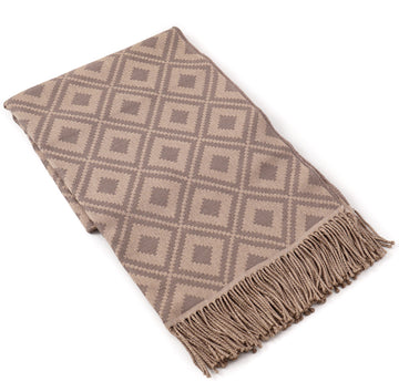 Battisti Diamond Jacquard Wool Throw Blanket