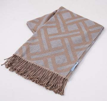 Battisti Gray Geometric Wool Throw Blanket