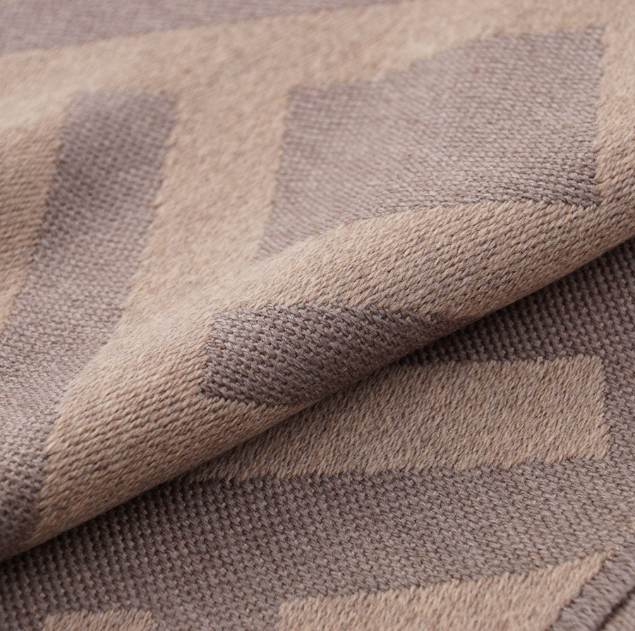 Battisti Tan Geometric Wool Throw Blanket
