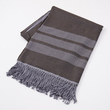 Battisti Brown Birdseye Wool Throw Blanket