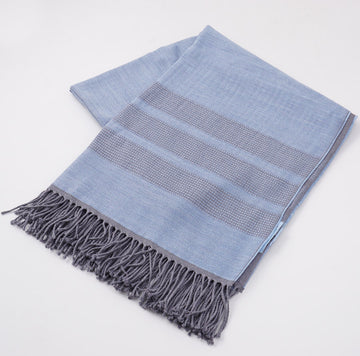 Battisti Blue Birdseye Wool Throw Blanket