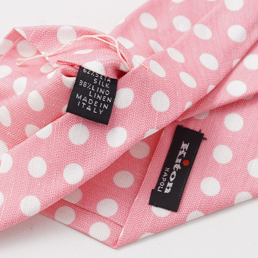 Kiton Pink Dot Print Silk and Linen Tie