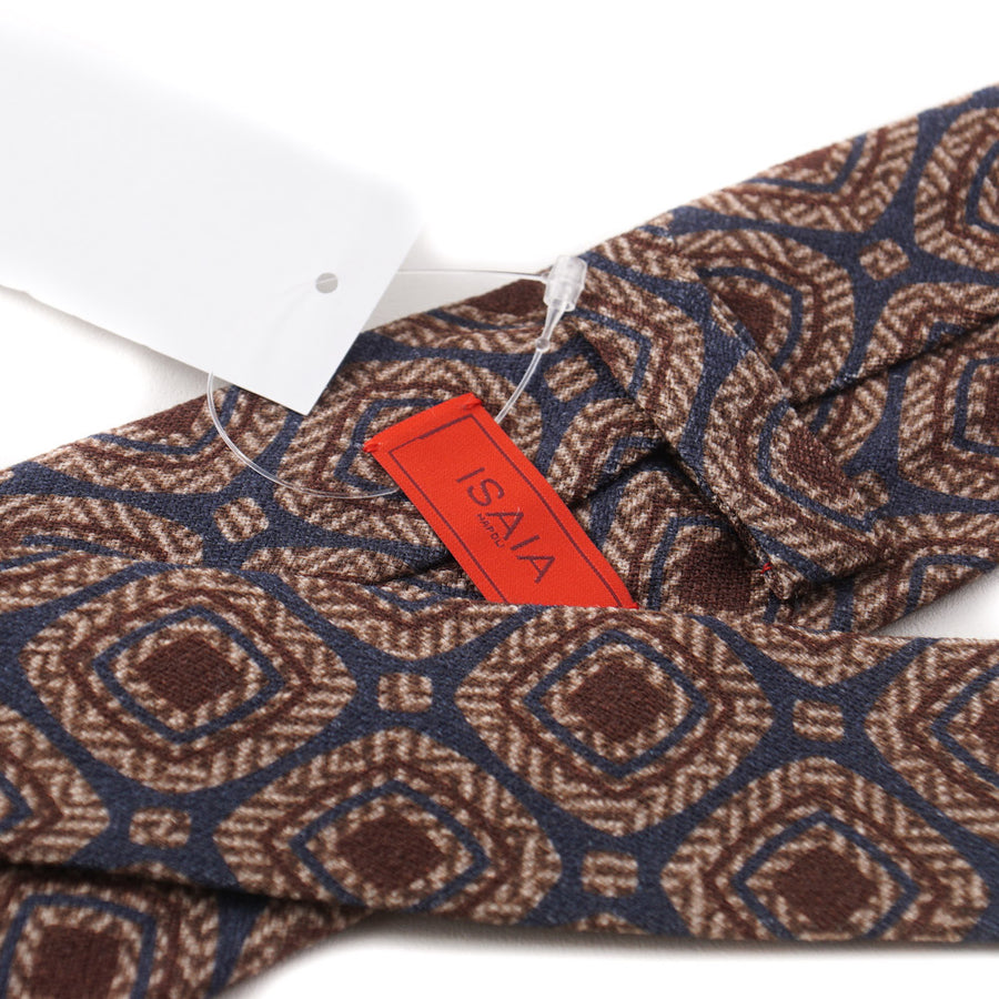 Isaia Medallion Print Wool and Silk Tie - Top Shelf Apparel