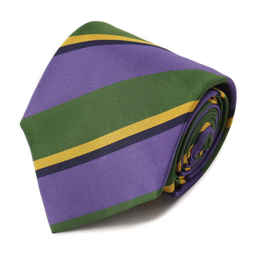 Isaia Purple and Green Striped Silk Tie