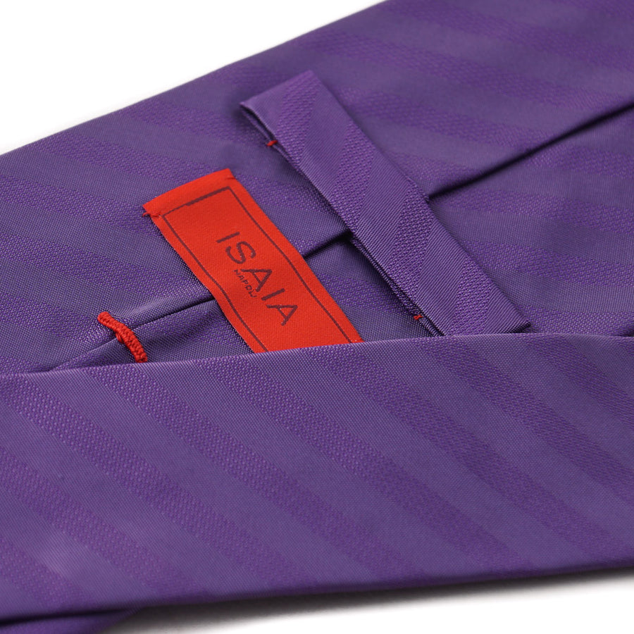 Isaia Purple Ribbon Striped Silk Tie