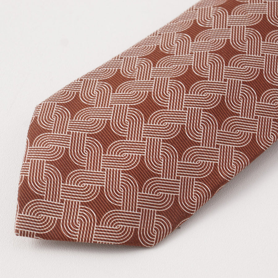 Kiton Brown and White Interlocking Print Silk Tie