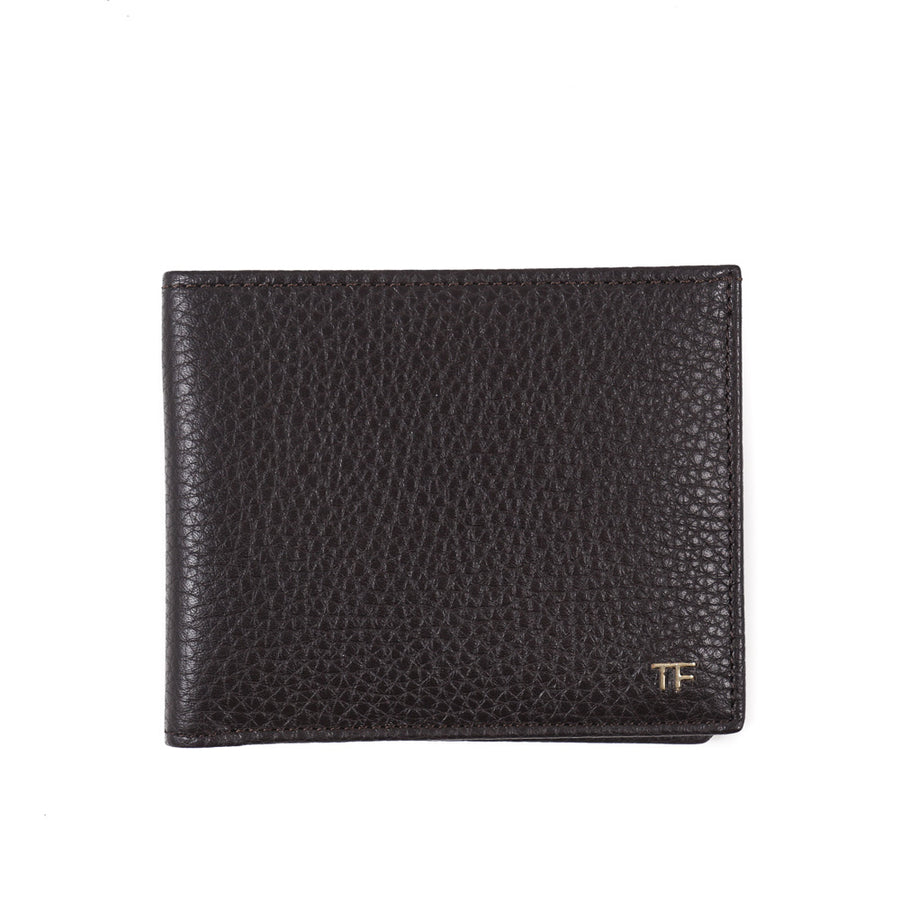 Tom Ford Brown Leather Wallet with Gold Emblem