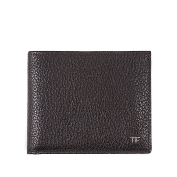 Tom Ford Brown Leather Wallet with Silver Emblem