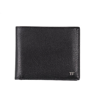 Tom Ford Glossy Leather Wallet with Silver Emblem