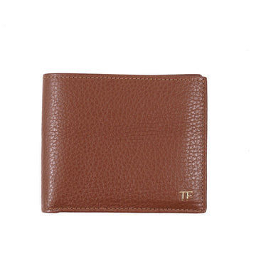 Tom Ford Grained Leather Wallet with Gold Emblem