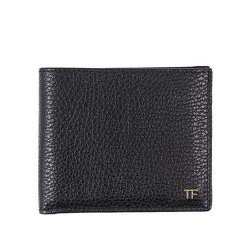 Tom Ford Black Leather Wallet with Gold Emblem