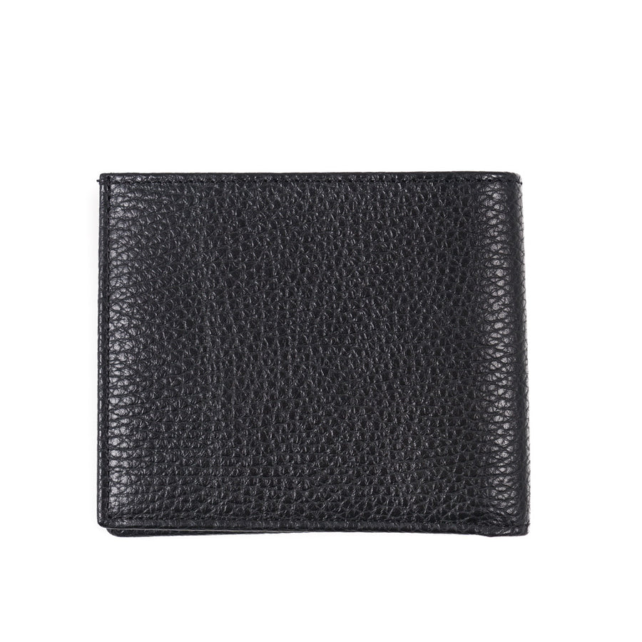 Tom Ford Black Leather Wallet with Silver Emblem