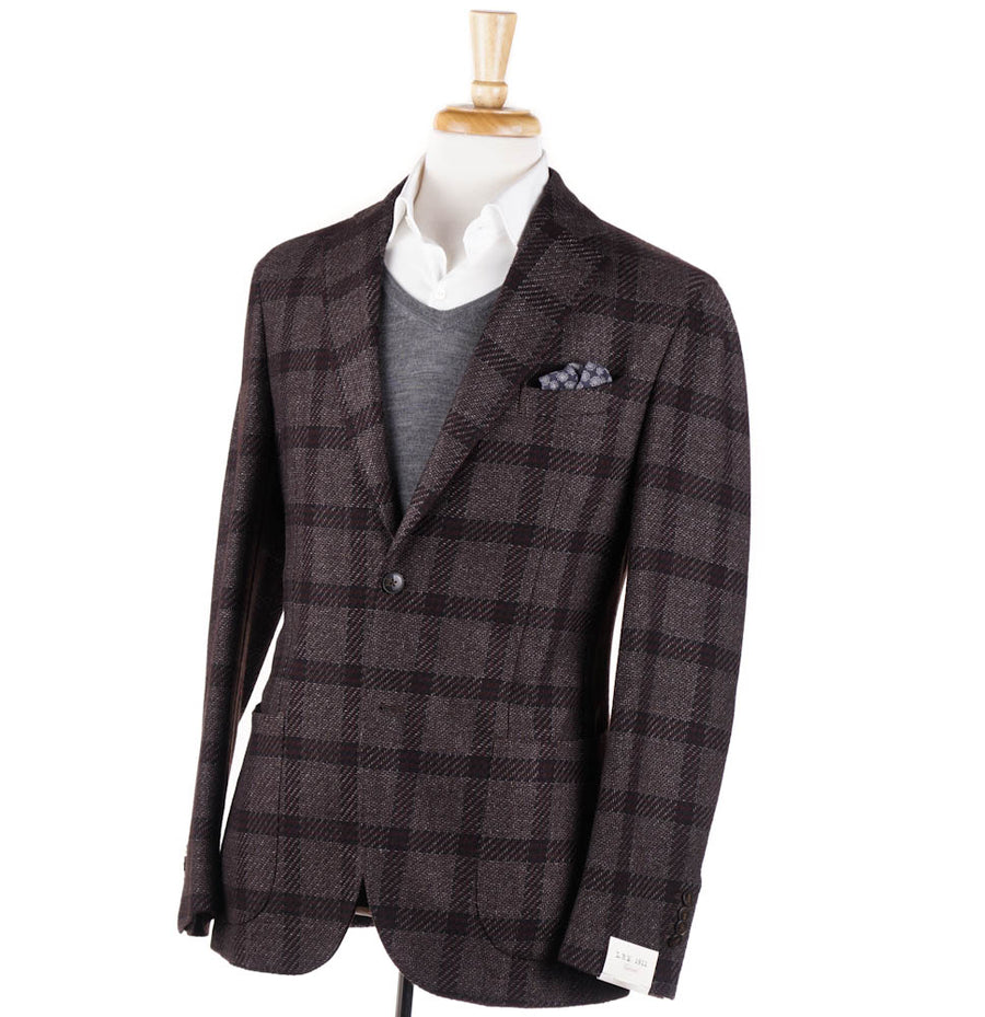L.B.M. 1911 Brown-Burgundy Check Sport Coat