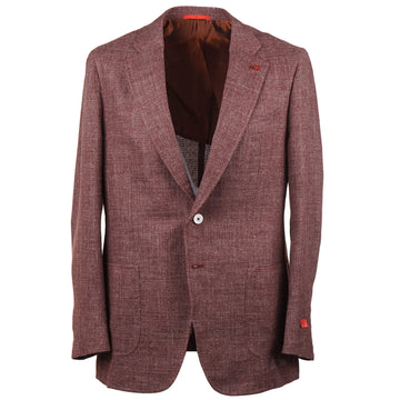 Isaia Burgundy Melange Wool-Blend Sport Coat