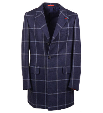Isaia Windowpane Wool-Cashmere Overcoat