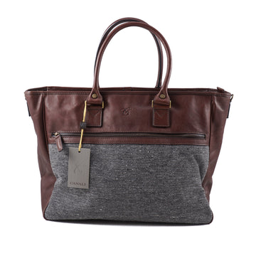Canali Leather and Tweed Overnight Bag