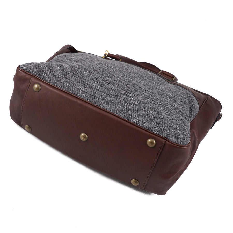Canali Leather and Tweed Overnight Bag - Top Shelf Apparel