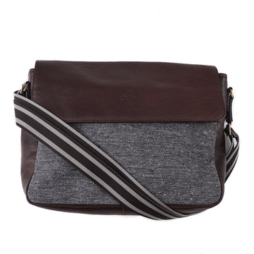Canali Tweed and Leather Shoulder Bag