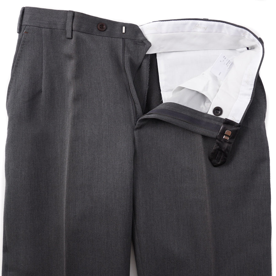 Brioni Gray Twill Cotton Pants with Leather Details
