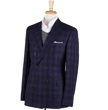Brunello Cucinelli Navy Check Wool-Linen-Silk Sport Coat