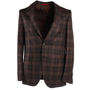 Isaia Layered Check Cashmere-Silk Sport Coat