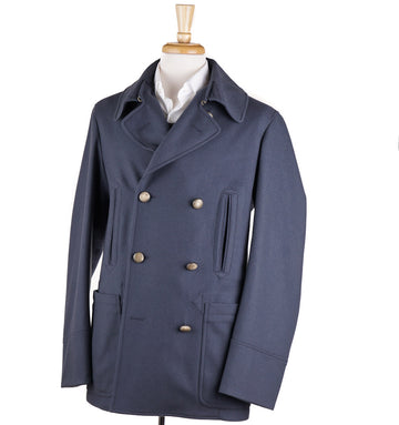 Boglioli Blue-Gray Wool and Cashmere Pea Coat - Top Shelf Apparel