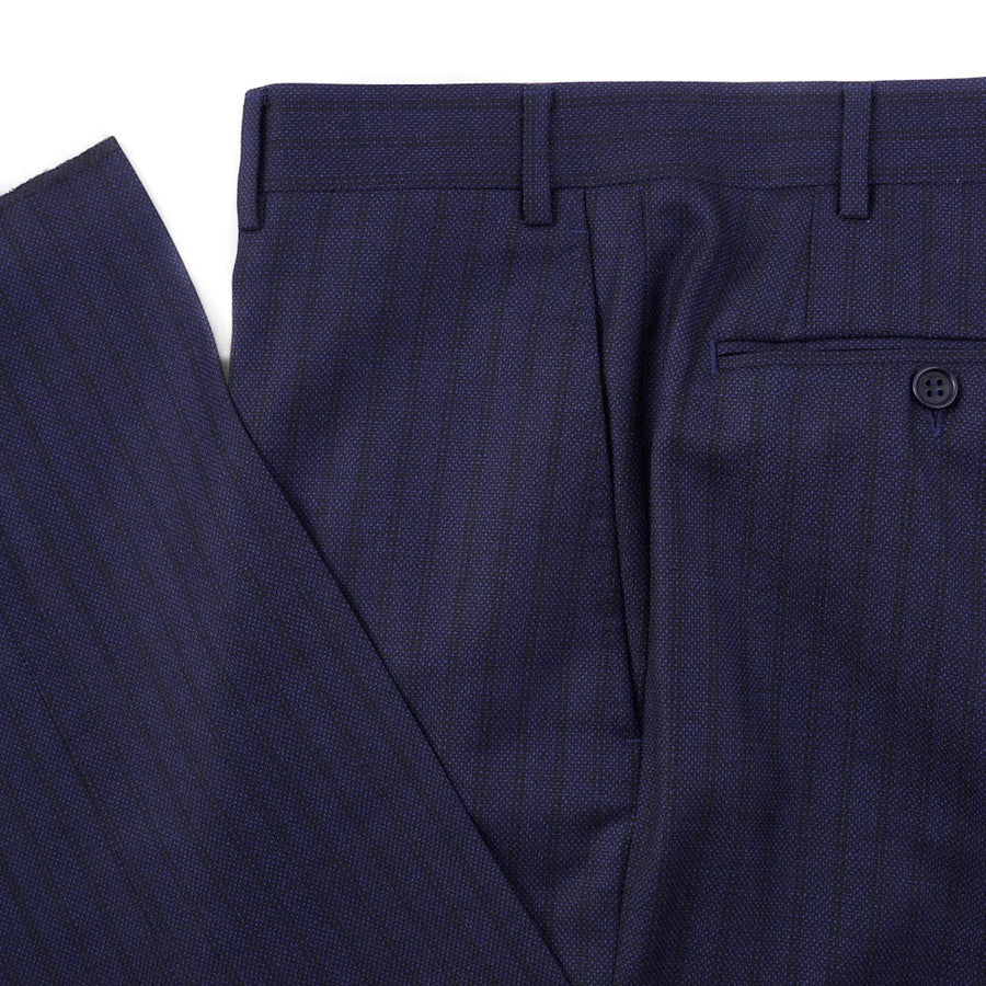 Canali Dark Blue Stripe Wool Suit