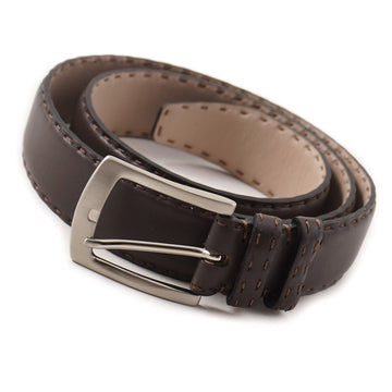 Kiton Calf Leather Belt in Dark Brown