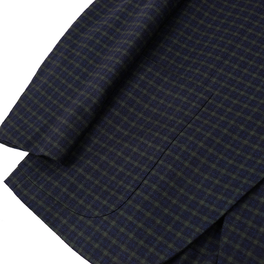 Kiton Blue Check Cashmere Sport Coat