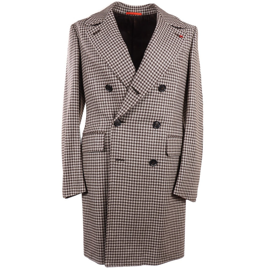 Isaia Houndstooth Wool Overcoat