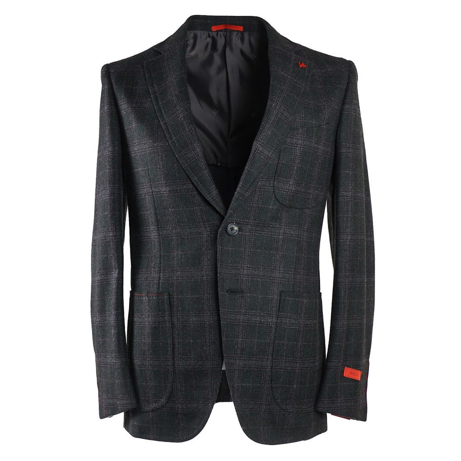 Isaia Green and Gray Check Wool Sport Coat