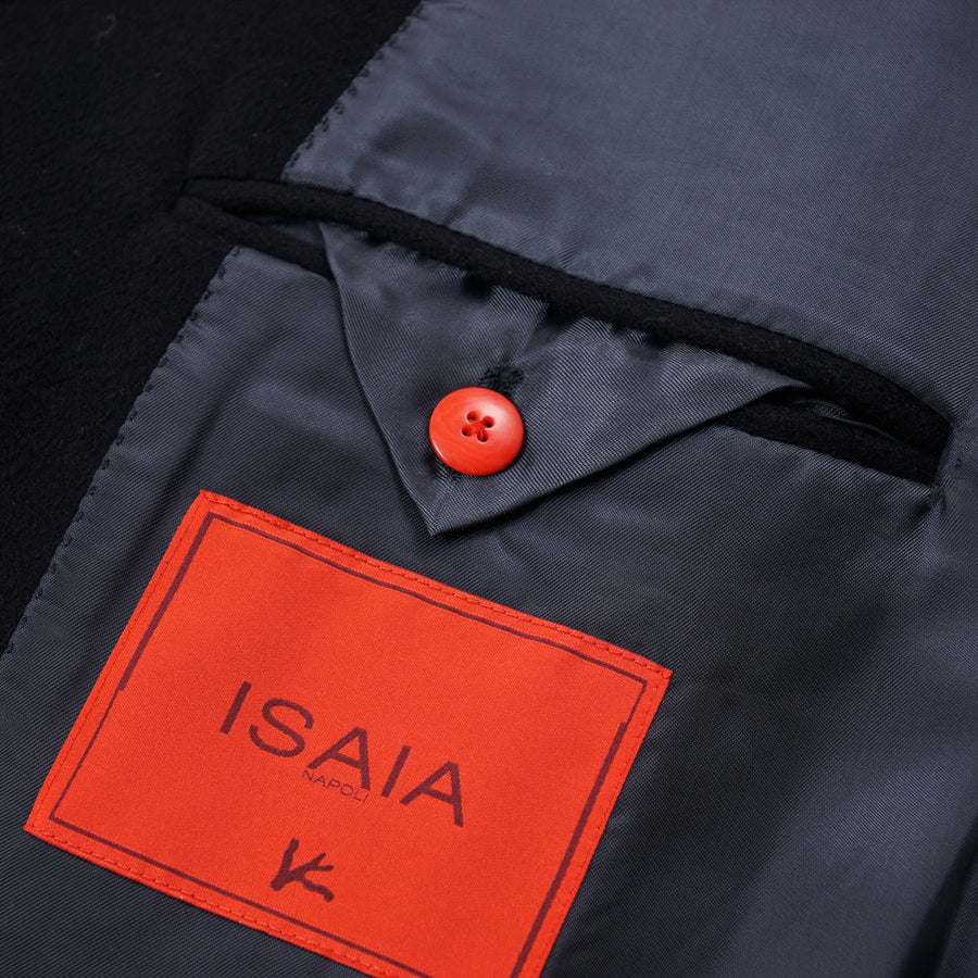 Isaia Navy Blue Soft Wool Overcoat