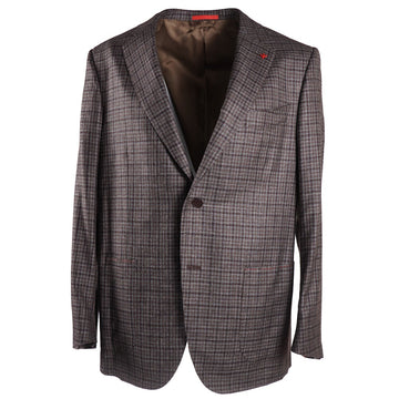 Isaia Layered Check Soft Wool Sport Coat